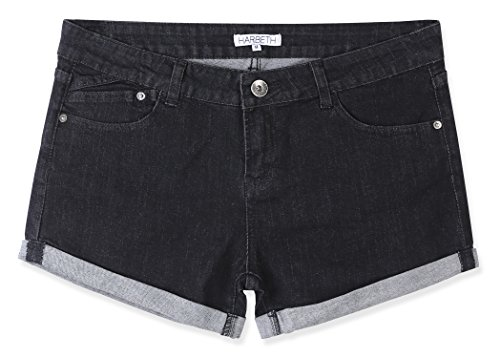 - HARBETH Women's Juniors Casual Stretch Fit Low Rise Pockets Trendy Denim Shorts Beated Black XS