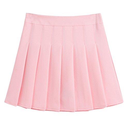 Heheja Femmes Taille Haute Mini Jupes vase Plisse Patineuse Elastique Courte Jupe Ceinture Matire Stretch pink