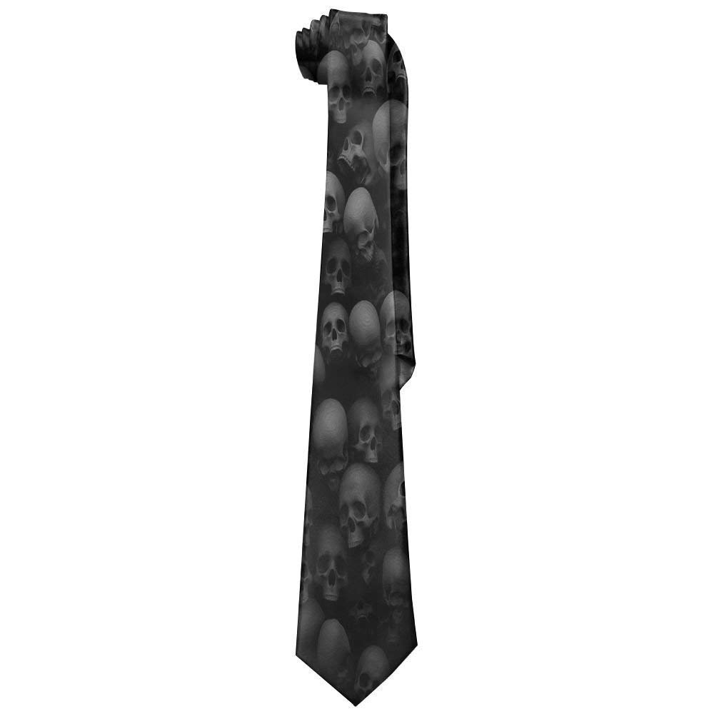 Mens Classic Casual Black Skull Head Skinny Silk Tie Necktie Fashion Gift Weddings Gentleman Groom Business