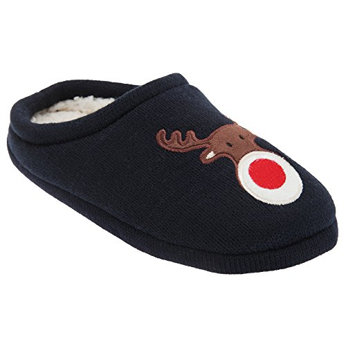 Universal Textiles Womens/Ladies Christmas Rudolph Mule Slippers (US 7-8) (Navy)