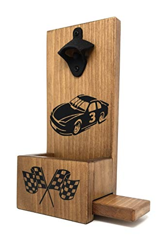 (Nascar Racing Fan Wall Mount Wood Bottle Opener & Cap Catcher With Easy Removal System! Custom Colors/Styles Available! )