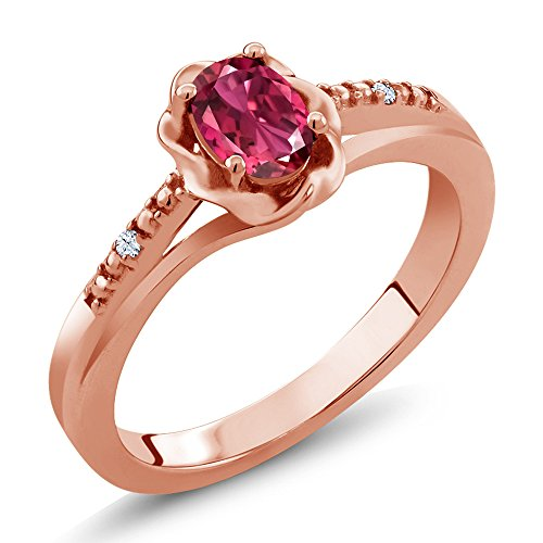 - Gem Stone King 0.52 Ct Oval Pink Tourmaline White Topaz 18K Rose Gold Plated Silver Ring (Size 9)