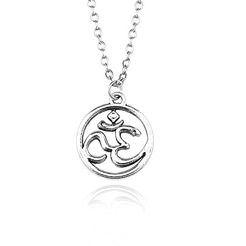 JUESJ Sporty Wind OM Yoga Sign Circle Pendant Necklace for Sportsman Gifts (2)