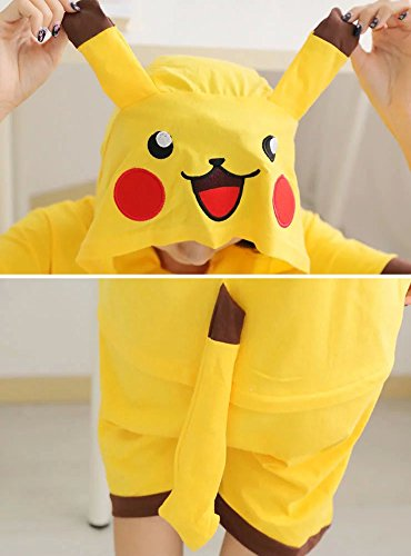 Yimidear Unisex Pikachu Costume Summer Cute Cartoon Cotton Pajamas Animal Onesie,Pikachu,Large by Yimidear (Image #4)