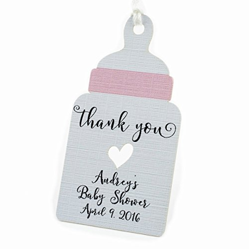 Summer-Ray 50pcs Personalized Pink Baby Bottle Baby Shower Favor Tags