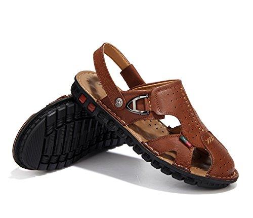 Chaussures Zhangm Mode Transpiration Deux Randonnée Conduite Hommes Clair D'été Pantoufles La En Respirant De Air Sandales Plein Cuir Casual Marron Alpinisme Porter wHFqBUH
