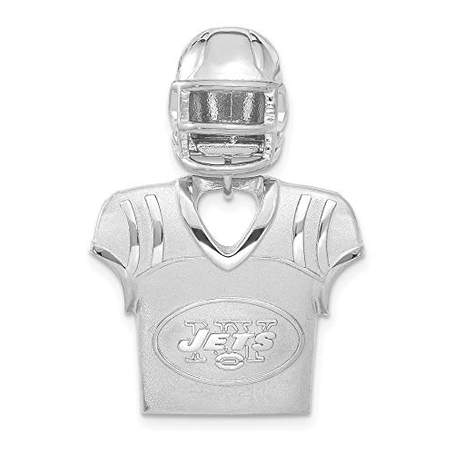 NFL Sterling Silver New York Jets Jersey and Helmet Pendant