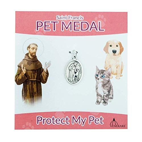 St. Francis Pet Medal | Small Oval Pet Collar Charm | A Great Gift for Pet Lovers | Comes with Different Colored Card | Christian Pet Goods (Pink Card)