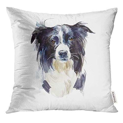 Golee Throw Pillow Cover Black Purebred Border Collie Portrait Dog Watercolor Hand Drawn White Adorable Animal Decorative Pillow Case Home Decor Square 18x18 Inches Pillowcase