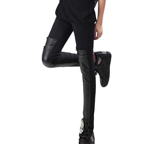 Patchwork Faux Leather (Yiitay Women's Patchwork Faux Leather Stretchy Leggings Pants)