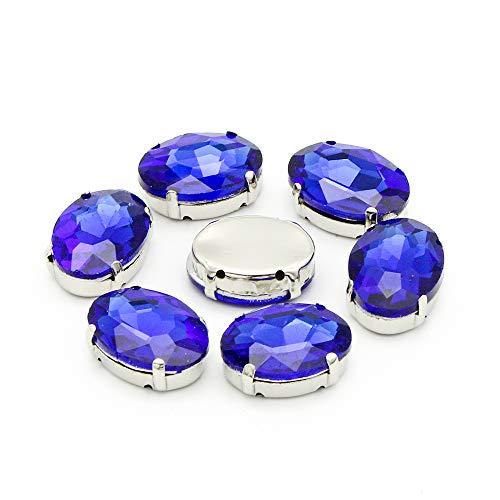 20pcs/lot 13X18mm Glass Oval Claw Drill Sew-on Rhinestones DIY Garment Accessories (Royal Blue)