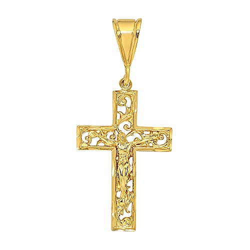 The Bling Factory Large 36mm x 5.5cm 14k Gold Plated Open Filigree Vine Crucifix Pendant, Jewelry Polishing Cloth