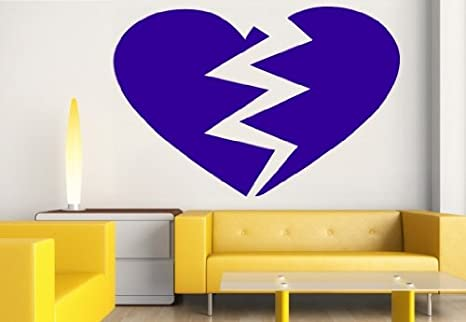 Pared Adhesivo - Color Corazón roto, azul brillante, ca. 10,00 x 6 ...