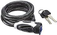 Amazon Basics 6 ft. Adjustable Keyed Bike Cable Lock, Black, 1-Pack
