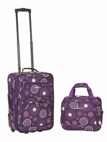 Rockland Luggage 2 Piece Printed Luggage Set, Purple Pearl, Medium
