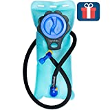 Aquatic Way Hydration Bladder Water Reservoir for Bicycling Hiking Camping Backpack. Non Toxic BPA Free, Easy Clean Large Opening, Quick Release Insulated Tube w/Shutoff Valve (Blue 2L 2 Liter 70 oz)