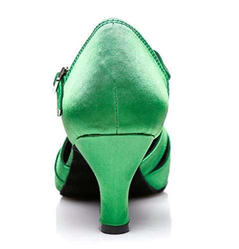 Matrimoni 6cm Modello Ballo Da Scarpe Ideali Tango Con Heel Minitoo Balli Latino Raso Americani Th152 Basso Donna In Comode Green Per Tacco wRxCCqzOU