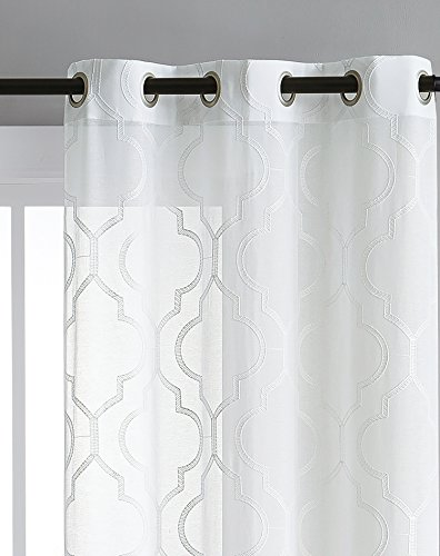 Embroidered Sheer Window Treatment with Grommet Top : Quatrefoil Design , Lighweight Luxurious Dacron in White ; 2 pc Set Measures 76″ X 84″ , each panel measures 38″ wide For Sale