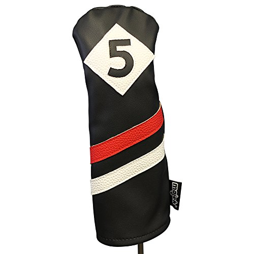テロリスト科学者興奮Majek Retro Golf Headcover Black Red and White Vintage Leather Style 5 Fairway Wood Head Cover Classic Look