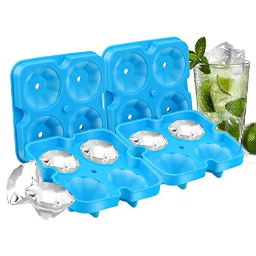 8 Diamond Ice Cubes, 2 PACK Diamond-Shaped Ice Cube Trays with Spill-Resistant Removable Lid and Funnel, BPA Free Easy Release Silicone Ice Cube Maker for Cocktail, Whisky, Bourbon and ()