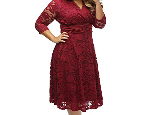 YeeATZ Red Plus Surplice Neck Ruched Waist Floral Lace Swing Dress(Size,3XL) (Brocade Tulip Skirt)