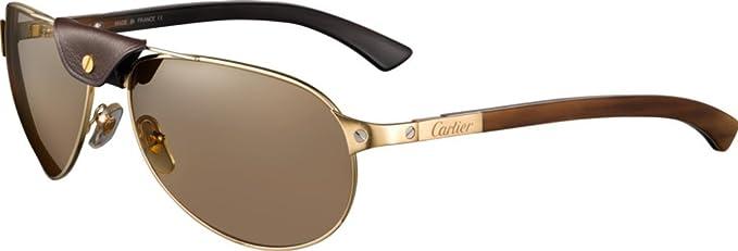 Cartier - Gafas de sol - para hombre dorado dorado: Amazon ...