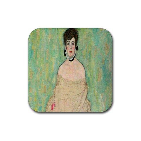 Portrait of Amalie Zuckerkandl by Gustav Klimt Square Coasters - Set of - Collection Amalie