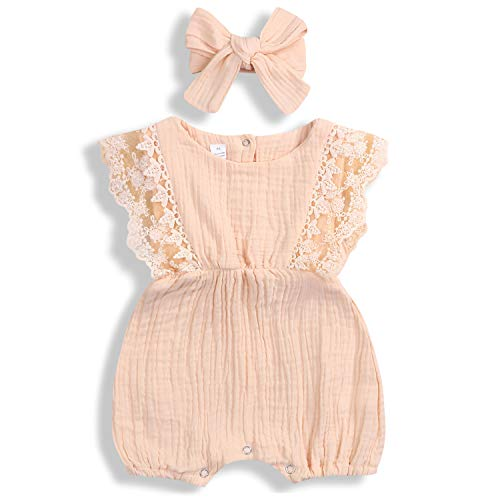 - KCSLLCA Baby Girls Lace Romper Set Ruffle Sleeve Solid Color Onesie with Headband (Cream Apricot, 9-12 Months)