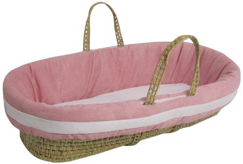 Baby Doll Bedding Suede Hotel Moses Basket Set, Rosado/Blanco