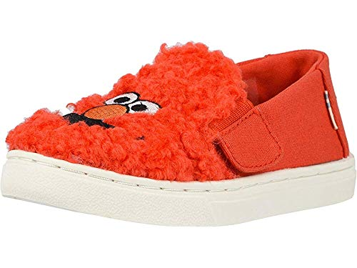 (TOMS Tiny Luca Slip-On Shoes, Size: 11 M US Little Kid, Color: Red Elmo Faux)