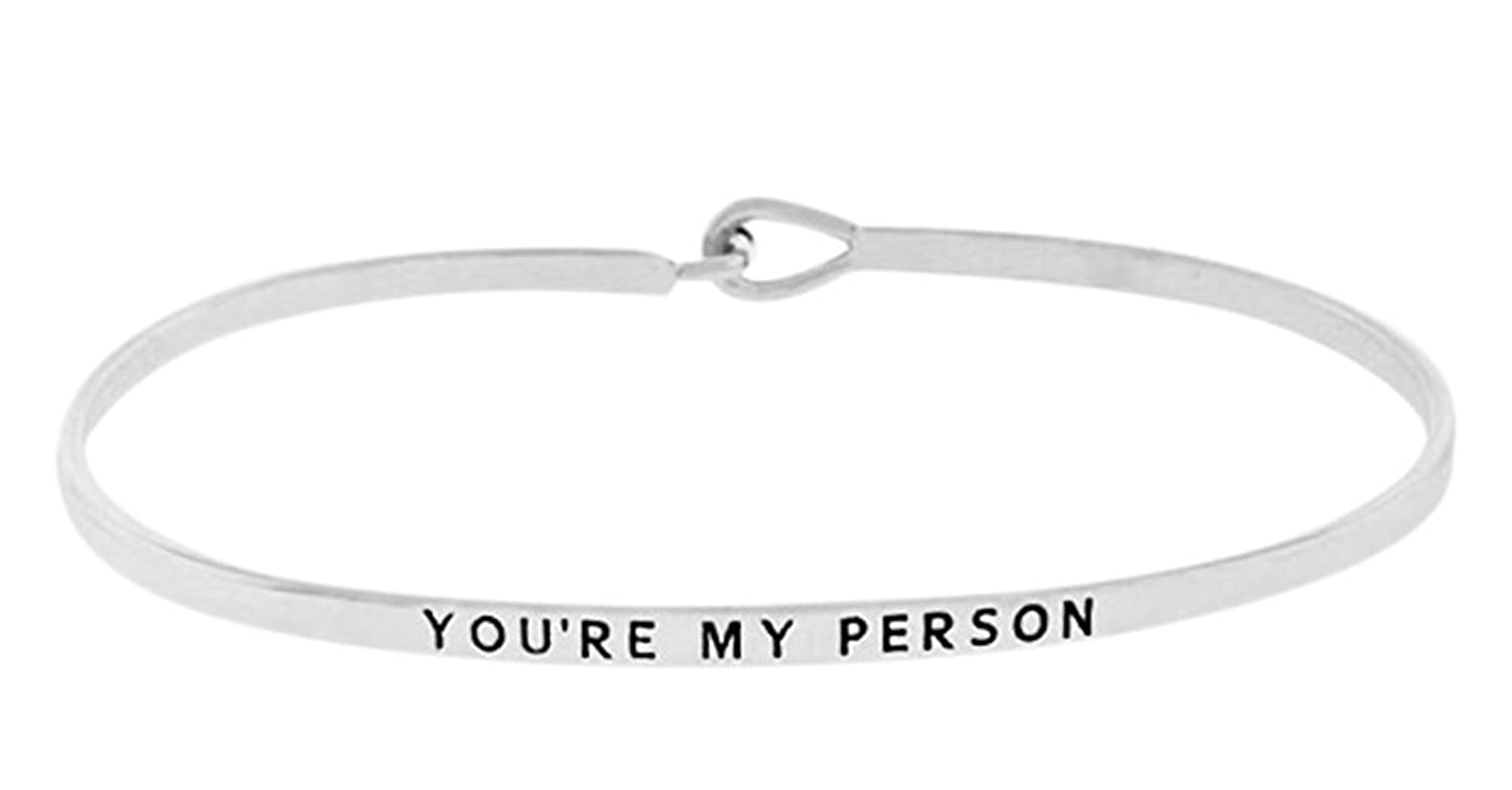"""""""You're My Person"""" Silver Tone Engraved Thin Brass Bangle Hook Bracelet for Best Friends, BFF Besties"""