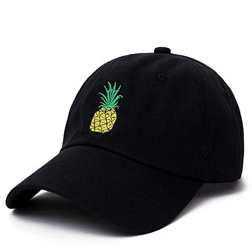Strawberry Hat,Cherry Hat,Pineapple hatFruit Hat Embroidered Baseball Hat,Cotton Cap,Adjustable Back (Black) ()