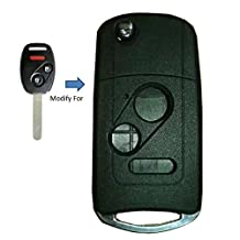 New Uncut Blank 2+1 Buttons Modified Folding Remote Fob Shell For HONDA Accord Odyssey LX Civic CR-V Pilot Flip Key Case Fob 2 Buttons +Panic