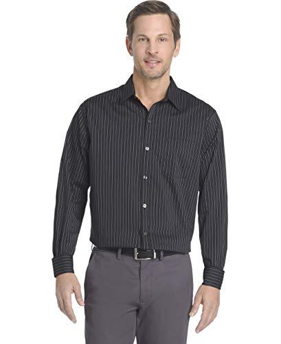 Van Heusen Men's Traveler Stretch Long Sleeve Button Down Black/Khaki/Grey Shirt, Thin Stripe, X-Large