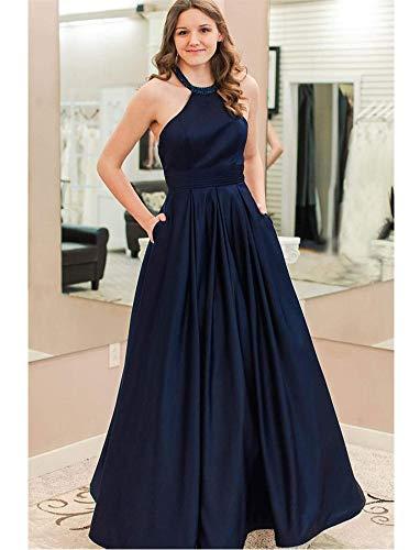 Dreagel Robes De Soirée Bal Licol Femmes Longues Robes De Demoiselle D'honneur Formelle Taille Haute Avec Des Poches De Bleu Royal