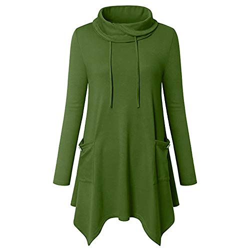 - Chaofanjiancai Women's Long Sleeve Cowl Neck Asymmetrical Hem TunicTops Solid Blouse with Pockets