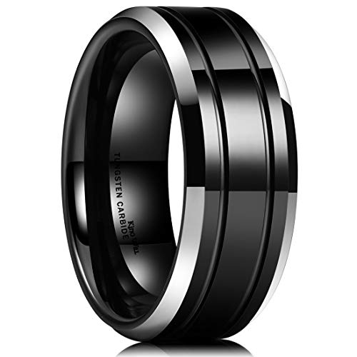 (King Will CLASSIC Men 8mm Black Tungsten Carbide Rings Polished Beveled Edge Double Groove Wedding Bands (12.5?)