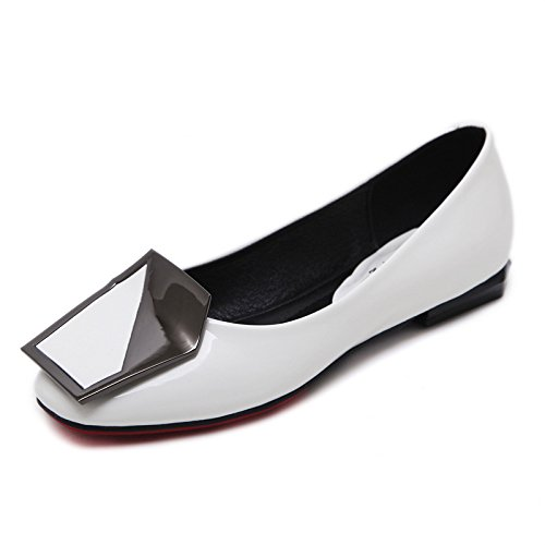 White thin head work Women's shoes shallow shoes flat shoes square vwCR6x
