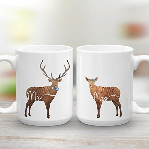 Mr and Mrs Mug Set, Deer Mugs, Wedding Engagement Gift, 2 15 oz Mugs