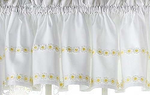 Ben & Jonah Simple Elegance by Ben&Jonah Faux Linen Daisy Floral Applique Kitchen Curtain Tailored Valance (56