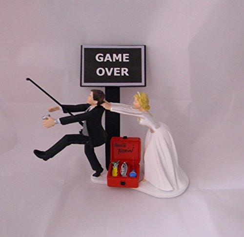 Wedding Gone Fishing Drunk beer Redneck Tackle Box Cake Topper (Gone Fishing Wedding Cake Topper)