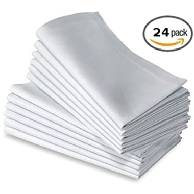 Elegant White Dinner Napkins 24pk