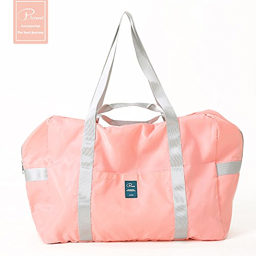 AOOK Foldable Travel Duffel Bag Luggage Sports Gym Water Resistant Nylon XL 55L (Pink)