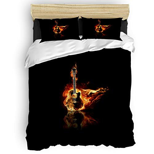 USOPHIA Full Size 4 Pieces Bed Sheets Set, Electric Bass Guitar in Fire Isolated in Black 3D Print Floral Duvet Cover Set (Set Gold Tension Bass)