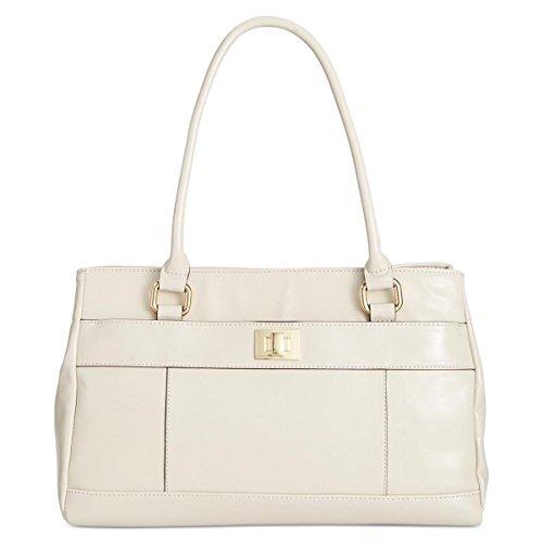 Giani Bernini Womens Glazed Leather Satchel Handbag Ivory Medium