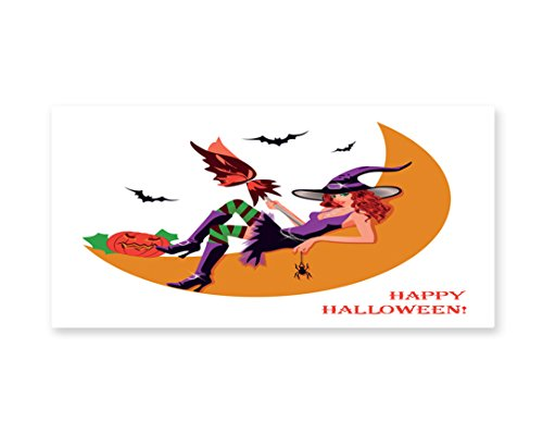 Lunarable Witch Wall Art, Sexy Witchy Woman on the Moon Flying Bats Spider and Pumpkin Happy Halloween Fantasy, Gloss Aluminium Modern Metal Artwork for Wall Decor, 23.5 W X 11.6 (Quick And Inexpensive Halloween Costume Ideas)