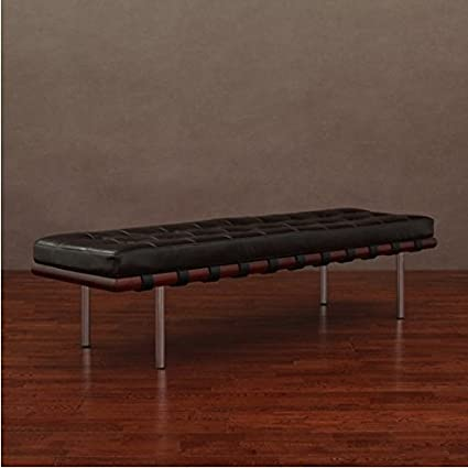Andalucia Large Dark Brown Upholstered Leather Bench