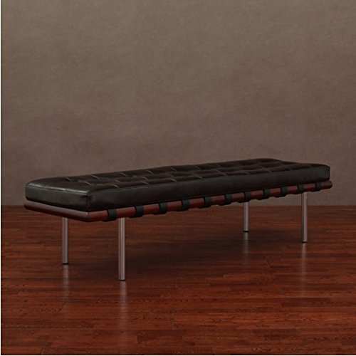 Andalucia Large Dark Brown Upholstered Leather Bench (Bench Barcelona)
