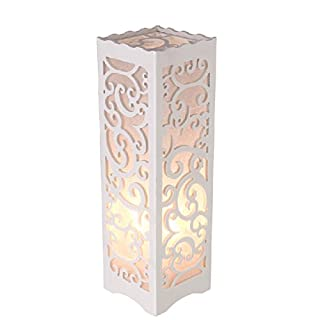 Dailyart White Table Lamp with Vine Shaped Cutout, Soft Glow Style, 3.93.913.8 Inches, E26 Bulb Base