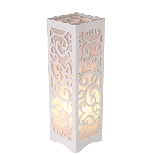 White Square Tower Table Lamp With Vine Curly Cutouts